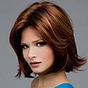 hesapli Kolyeler-Sentetik Peruklar Düz / Doğal Dalgalar Asimetrik Saç Kesimi Sentetik Saç Doğal saç çizgisi Kahverengi Peruk Kadın's Orta uzunluk Bonesiz Kahverengi