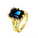 hesapli Yüzükler-Kadın's Sentetik safir Yüzük - 18K Altın Kaplama Moda Altın / Mavi / Navy Mavi Uyumluluk Günlük