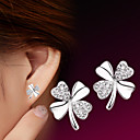 cheap Temporary Tattoos-Women's Cubic Zirconia Fashion Stud Earrings - Sterling Silver Silver Flower Clover Ladies Simple Style Fashion Jewelry Silver For Wedding Party Daily Casual Sports 1 Pair