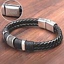 Недорогие Именные аксессуары-Персонализированные ювелирные изделия браслеты - Нержавеющая сталь/Кожа - серебро/черный -