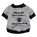 hesapli Köpek Giyim ve Aksesuarları-Kedi Köpek Svetşört Köpek Giyimi Harf & Sayı Gri Terylene Kostüm Evcil hayvanlar için Erkek Kadın's Sevimli Moda