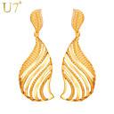 hesapli Bilezikler-Kadın's Püskül Damla Küpeler - Altın Kaplama Leaf Shape Vintage, Parti, İş Altın / Gümüş Uyumluluk Günlük