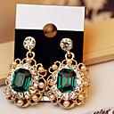 ieftine Cercei-Pentru femei Cristal Cercei Picătură Solitaire Emerald Cut femei De Bază Zirconiu Cubic cercei Bijuterii Auriu / Culoare ecran Pentru Petrecere
