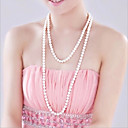 cheap Jewelry Sets-Women's Strands Necklace / Y Necklace / Pearl Necklace - Pearl, Imitation Pearl Flower Fashion White Necklace Jewelry For Wedding, Party, Party / Evening / Daily / Casual