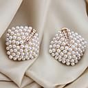 저렴한 귀걸이-여성용 진주 스터드 귀걸이 / 귀는 - 펄, 크리스탈, 모조 진주 사치 화이트 제품 파티 / 일상 / 캐쥬얼 / 도금 골드 / 모조 다이아몬드