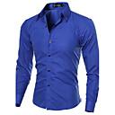 رخيصةأون كنزات هودي رجالي-رجالي عمل الأعمال التجارية أساسي قياس كبير قميص, لون سادة ياقة مفرودة نحيل / كم طويل / الربيع / الخريف