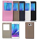 hesapli Galaxy S Serisi Kılıfları / Kapakları-Pouzdro Uyumluluk Samsung Galaxy Samsung Galaxy Note Satandlı Pencereli Tam Kaplama Kılıf Tek Renk PU Deri için Note 5