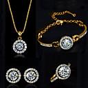 ieftine Ceasuri Damă-Pentru femei Diamant sintetic moissanite Seturi de bijuterii Lănțișor Cercei Solitaire Rundă HALO femei Elegant Cristal Zirconiu Cubic cercei Bijuterii Argintiu / Auriu Pentru Nuntă Petrecere Zi de