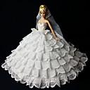 رخيصةأون أغطية أيفون-دمية اللباس الزفاف إلى Barbie دانتيل الأورجانزا فستان إلى لفتاة دمية لعبة