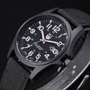 hesapli Erkek Saatleri-Erkek Quartz Bilek Saati / Asker Saat Kumaş Bant Siyah / Beyaz / Kahverengi / Yeşil