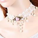 olcso Divat nyaklánc-Női Rövid nyakláncok Nyomatékos Gótikus Ékszerek Csipke hölgyek Gótikus Fehér Nyakláncok Ékszerek Kompatibilitás Esküvő Parti Napi Hétköznapi Álarcos mulatság Eljegyzés