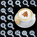 tanie Przybory i gadżety do pieczenia-Narzędzia do kawy cappuccino wyszukane szablon karimata mleka barista sprayu duster oszczędny plastikowy wieniec forma 16 zestaw