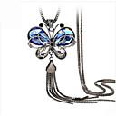 hesapli Gerdanlıklar-Kadın's Kristal Uçlu Kolyeler - Kristal, Reçine, Yapay Elmas Vintage, Avrupa, Moda Mavi Kolyeler Mücevher Uyumluluk Düğün, Parti, Günlük