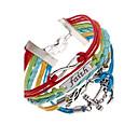 preiswerte Armbänder-Damen Mehrschichtig Geflochten Wickelarmbänder - Leder Liebe, Anker Einzigartiges Design, Mehrlagig Armbänder Silber Für Party Alltag Normal