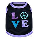 preiswerte Bekleidung & Accessoires für Hunde-Katze Hund T-shirt Hundekleidung Herz Schwarz und Violett Rosa Baumwolle Kostüm Für Haustiere Herrn Damen Modisch