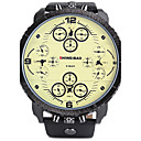 Недорогие Мужские часы-SHI WEI BAO Муж. Спортивные часы Армейские часы Кварцевый Календарь С тремя часовыми поясами Cool Кожа Группа Аналоговый Роскошь Черный - Белый Черный