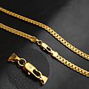 hesapli Kolyeler-Erkek Balıksırtı Zinciri Zincir Kolyeler - 18K Altın Kaplama Kişiselleştirilmiş, Klasik, Moda Altın 50 cm Kolyeler Mücevher 1pc Uyumluluk Parti, Günlük