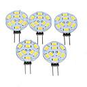 baratos Luminárias de LED  Duplo-Pin-5pçs 1.5W 200-220lm G4 Lâmpadas de Foco de LED MR11 9 Contas LED SMD 5730 Regulável Branco Quente 12V / 5 pçs / RoHs