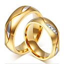 저렴한 반지-커플용 커플 링 - 18K 골드 플레이티드, 스테인레스, 라인석 개인화, 사치, 패션 원 사이즈 블랙 / 골든 제품 결혼식 / 파티 / 일상 / 도금 골드 / 캐쥬얼 / 도금 골드