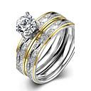 hesapli Kolyeler-Kadın's Yüzük / Nişan yüzüğü - Paslanmaz Çelik, Zirkon, Altın Kaplama Avrupa, Moda 6 / 7 / 8 Altın Uyumluluk Düğün / Parti / Günlük
