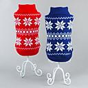 tanie Święta Bożego Narodzenia-Kot Pies Swetry Święta Bożego Narodzenia Ubrania dla psów Płatek śniegu Czerwony Niebieski Bawełna Kostium Dla zwierząt domowych Męskie