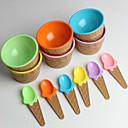 hesapli Bardaklar-Çocukların plastik dondurma kase kaşık dayanıklı dondurma kabı (rastgele renk) ayarlamak
