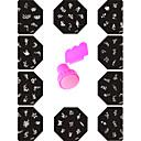 hesapli Makyaj ve Tırnak Bakımı-11 pcs Tırnak Takısı şablon tırnak sanatı Manikür pedikür Soyut / Moda Günlük / Nail Jewelry / Metal