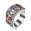 Mujer Lujo Circonita Zirconio / Cobre / Titanio Acero Gota Anillo - Lujo Plata anillo Para Fiesta / Diario / Casual
