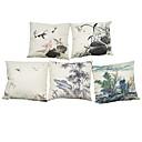 tanie Poduszki-5 szt Bielizna Naturalne / ekologiczne Poszewka na poduszkę Pokrywa Pillow, Jendolity kolor Kwiaty Pled Textured Na co dzień Styl plażowy