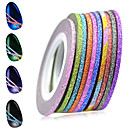 cheap Nail Rhinestones & Decorations-1set 2mm 12 mixed sparkling colors laser glitter nail art striping tape line diy nail decorations manicure tools