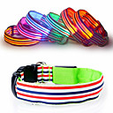 Buy Dog Collar LED Lights Adjustable / Retractable Reflective Strobe/Flashing Safety Rainbow Stripe Plastic Nylon Yellow Red Green Blue Pink