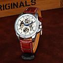 ieftine Ceasuri Bărbați-Bărbați Ceas La Modă Ceas Schelet ceas mecanic Mecanism automat Piele PU Matlasată Negru / Maro Gravură scobită Cool Analog Lux Casual - Auriu Alb Negru