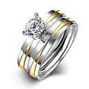 hesapli Yüzükler-Kadın's Titanyum Çelik Nişan yüzüğü Yüzük Band Yüzük - Yuvarlak Gelin Moda minimalist tarzı Gümüş halka Uyumluluk Yılbaşı Hediyeleri