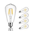 baratos Relés-5pçs 4 W 360 lm E26 / E27 Lâmpadas de Filamento de LED ST64 4 Contas LED COB Decorativa Branco Quente / Branco Frio 220-240 V / 5 pçs / RoHs