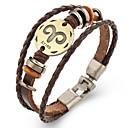 voordelige Armbanden-Dierenriem Lederen armbanden - Leder Ram 21/3 - 19/4 Vintage Armbanden Bruin Voor Lahja