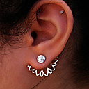 cheap Necklaces-Women's Hollow Out Stud Earrings / Front Back Earrings / Ear Jacket - Crystal Flower Gold / Silver For Christmas Gifts / Wedding / Party
