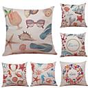 tanie Poduszki-6 szt Bielizna Cotton / Linen Poszewka na poduszkę Pokrywa Pillow, Textured Styl plażowy Wałek Tradycyjny / Classic