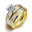 hesapli Kolyeler-Kadın's Band Yüzük / Yüzük / Nişan yüzüğü - Titanyum Çelik minimalist tarzı, Moda, Gelin 6 / 7 / 8 Altın Uyumluluk Yılbaşı Hediyeleri / Düğün / Parti / Yüzük Seti