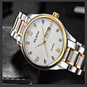 levne Módní náhrdelníky-Pánské Módní hodinky Křemenný Stříbro / Zlatá Analogové Na běžné nošení - Bílá Černá