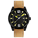 cheap Men's Watches-SKMEI Men's Wrist Watch Japanese Quartz 30 m Water Resistant / Water Proof Calendar / date / day Cool Leather Band Analog Casual Fashion Dress Watch Brown - Yellow Green Blue