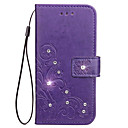 cheap iPhone Cases-Case For Apple iPhone X iPhone 8 iPhone 8 Plus Card Holder Rhinestone with Stand Embossed Full Body Cases Flower Hard PU Leather for