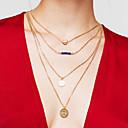 hesapli Kolyeler-Kadın's Katmanlı katmanlı Kolyeler - Altın Kaplama Kalp Moda, Çoklu Katman Altın Kolyeler Uyumluluk Teşekkür ederim, Hediye, Günlük