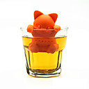 저렴한 컵&유리잔-만화 고양이 차 여과기 실리콘 차 주입기 귀여운 새끼 고양이 차 도구