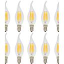 abordables Lampes à Filament LED-10pcs 6W 560lm E14 Ampoules à Filament LED C35L 6 Perles LED COB Décorative Blanc Chaud / Blanc Froid 220-240V / 10 pièces / RoHs
