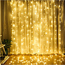 cheap LED String Lights-ZDM 1PC LED Curtain Lamp String 3*3 m 300 led Christmas Outdoor Waterproof Festival Wedding Decorative Curtain Multicolor/ Warm White/Cold White/Blue EU AC220V / US AC110V