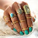 ieftine Inele-Pentru femei Unghiul degetului unghiilor / Seturi de inele / Pinky Ring Turcoaz 10pcs Auriu / Argintiu Aliaj Declarație / Vintage / Boem Nuntă / Petrecere / Zi de Naștere Costum de bijuterii