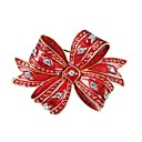 cheap Bracelets-Brooches - Zircon, Gold Plated Bowknot Brooch Red For Christmas / New Year