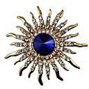 ieftine Broșe-Pentru femei Safir Cristal Broșe Declarație femei Clasic Cristal Diamante Artificiale Broșă Bijuterii Auriu Pentru Cadou Zilnic