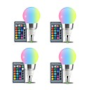 tanie Żarówki LED bi-pin-4szt 3W 250lm E27 Żarówki LED kulki 3 Koraliki LED SMD Dekoracyjna Zdalnie sterowana RGB + Biały 85-265V