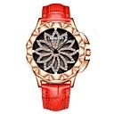 levne Dámské-Dámské Náramkové hodinky japonština Křemenný 50 m Voděodolné Chronograf S dutým gravírováním Pravá kůže Kapela Analogové Květina Módní Elegantní Černá / Bílá / Červená - Šedá Červená Růžová Dva roky